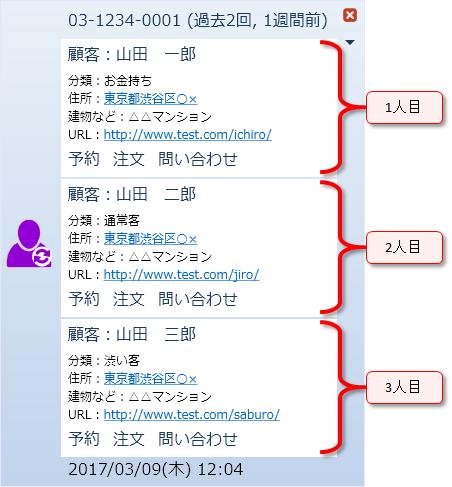 電話番号が重複する場合のポップアップ表示