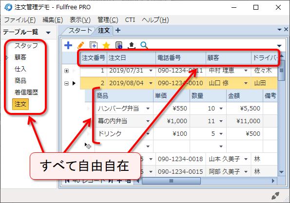 自由自在の顧客管理ソフト